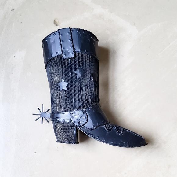 Black Metal Cowboy Boot Candle Holder